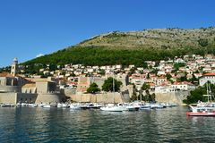 Dubrovnik /Croatia - September 09 2014: The old port of Dubrovnik. royalty free stock photography