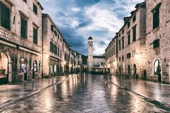 DUBROVNIK, CROATIA - SEPTEMBER 10, 2017: Stradun Placa, the main street of the Old Town of Dubrovnik. The world famous and most visited historic city of royalty free stock images