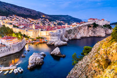 Dubrovnik, Croatia. Spectacular twilight picturesque view on the old town of Ragusa from the Lovrijenac Fortress Royalty Free Stock Photography