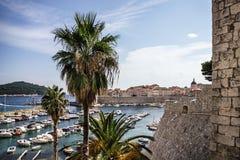 Dubrovnik croatia Stary port i ściana antyczny forteca Zdjęcia Royalty Free