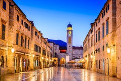 Dubrovnik, Croatia - Stradum, night view Stock Photography