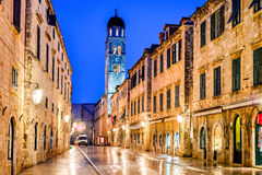 Dubrovnik, Croatia - Stradum, night view Royalty Free Stock Photography