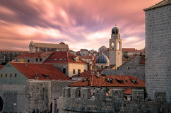 Dubrovnik, Croatia. Sunset golden light over Old Town roofs of Ragusa (Duvrovnik stock photo