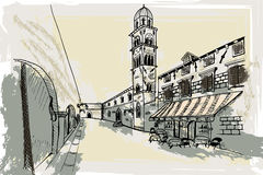 Dubrovnik. Croatia. Vector sketch. Royalty Free Stock Photography