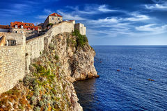 Dubrovnik, Croatia view from city walls overlooking walls and se Royalty Free Stock Image