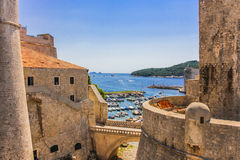 Dubrovnik Croatia. Walls fortress Dubrovnik Dalmatia  Croatia. Harbor, old town Royalty Free Stock Photos