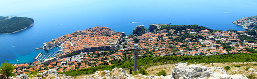 Dubrovnik aerial panorama shot from the hill Royalty Free Stock Photos