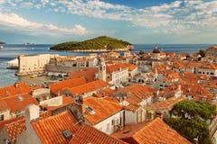 DUBROVNIK, DALMATIA, CROATIA - Old Town and Lokrum Island at sunset royalty free stock image