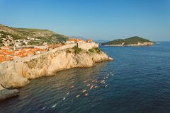 DUBROVNIK, DALMATIA, CROATIA  -   - View at The Old Town of Dubrovnik and Lokrum Island from Fort Lovrijenac at sunset. DUBROVNIK DALMATIA CROATIA, View at The Stock Images
