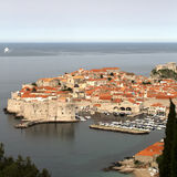 Dubrovnik at dawn with cruise ship Royalty Free Stock Images