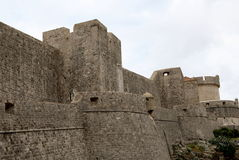 Dubrovnik Defense Wall. Defense walls of the old town of Dubrovnik, a well-preserved medieval fortress and a popular tourist destination, Croatia Stock Images
