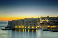 Dubrovnik entro la notte Fotografia Stock