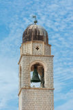 Dubrovnik famous clock tower in Luza Square Stock Image