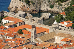 Dubrovnik, Fort Bokar, Franciscan Monastery. Fort Bokar, Franciscan Monastery and a rocky bay of Dubrovnik seen from Minceta Fort Royalty Free Stock Photo