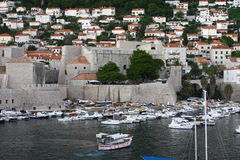 Dubrovnik fortress defence wall and harbour Stock Photos