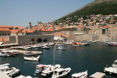 Dubrovnik fortress and harbour. Croatia Stock Image