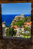 Dubrovnik fortress panorama with sea from the city walls,Croatia Royalty Free Stock Photos