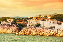 Dubrovnik fortress from the sea Stock Images
