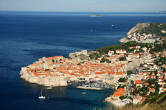 Dubrovnik fortress seen from above. Old Dubrovnik fortress seen flom above and the Adriatic Sea Royalty Free Stock Photos
