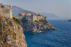 Dubrovnik gammala townväggar Royaltyfria Bilder