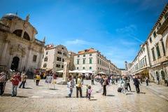 Dubrovnik gataliv, Kroatien Arkivbilder