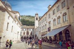 Dubrovnik gataliv, Kroatien Arkivbild