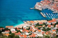 Dubrovnik-Hafen von oben lizenzfreies stockfoto