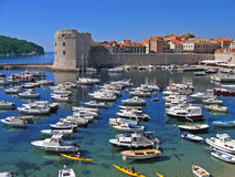 Dubrovnik harbor. With boats and kayakers stock photos