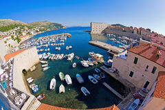 Dubrovnik harbor. Fisheye view of Dubrovnik harbor and marina Royalty Free Stock Photography