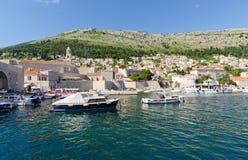 Dubrovnik, Harbor. DUBROVNIK, CROATIA - MAY 15, 2013: Boats moored in the port of Dubrovnik, Croatia.  On 15 May 2013 in Dubrovnik, Croatia Stock Photo
