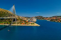 Dubrovnik harbor with Franjo Tudjman bridge,Dalmatia,Croatia,Europe Royalty Free Stock Photography