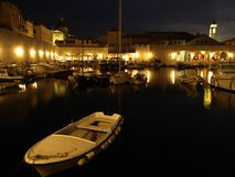 Dubrovnik harbor at night Royalty Free Stock Photo