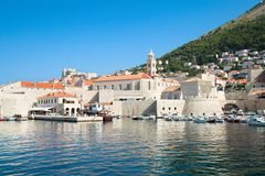Dubrovnik harbor and old town Stock Photos