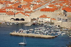 Dubrovnik harbour. Old harbour from Dubrovnik with a lot of boats Stock Images