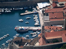 Dubrovnik harbour town from above Royalty Free Stock Photos