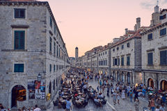 Dubrovnik historic center. Stradun is the main road of the historic center of Dubrovnik, there is a lot of tourist everytime Stock Image