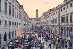 Dubrovnik historic center. Stradun is the main road of the historic center of Dubrovnik, there is a lot of tourist everytime Royalty Free Stock Photo