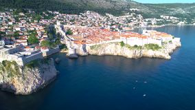 Dubrovnik historic cityscape and landmarks  aerial view. Dubrovnik historic cityscape and landmarks aerial view, Dalmatia region of Croatia stock footage