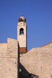 Dubrovnik historic clock tower and city walls Stock Images
