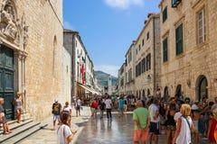 Dubrovnik huvudsaklig gata Stradun Fotografering för Bildbyråer