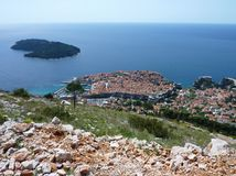 Dubrovnik with the island Lokrum Stock Photos