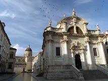 Dubrovnik-Kirche an der Dämmerung Lizenzfreies Stockfoto