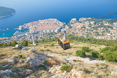 Dubrovnik from Kriz, Croatia. Dubrovnik from above, panoramic shot from Kriz Cable car Royalty Free Stock Photos