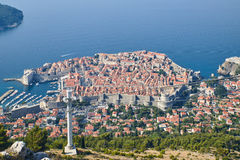 Dubrovnik from Kriz, Croatia. Dubrovnik from above, panoramic shot from Kriz Cable car Stock Photos