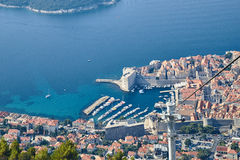 Dubrovnik from Kriz, Croatia. Dubrovnik from above, panoramic shot from Kriz Cable car Stock Images