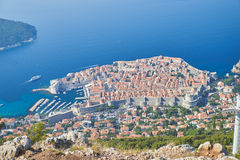 Dubrovnik from Kriz, Croatia. Dubrovnik from above, panoramic shot from Kriz Cable car Royalty Free Stock Images