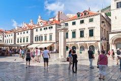 Dubrovnik Kroatien, Luza fyrkant, 14-09-2016 Royaltyfri Foto