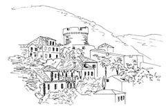 dubrovnik La Croazia Schizzo in bianco e nero illustrazione vettoriale