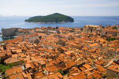Dubrovnik and Lokrum. A view of the Dubrovnik old city and the island of Lokrum royalty free stock images