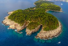 Dubrovnik - Lokrum aerial. Lokrum Island and nature park near Dubrovnik, Croatia royalty free stock image